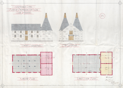 1876 Building Plan for Oast Houses at Nashenden