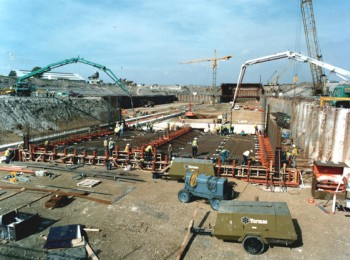 August 1993: Pouring Concrete Floor of First Tunnel Section in the Casting Basin