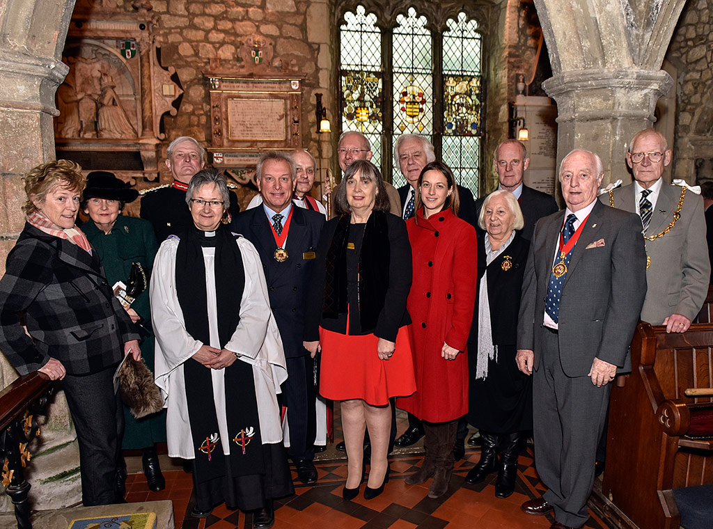 Members of the modern Filmer family are pictured with Bridge Wardens, Lord and Lady De L'Isle, Rev Fiona Haskett, Rt Rev Trevor Wilmott, Helen Whately MP Helen Whately, Mike Harrison of Kent County Council and the Mayor of Maidstone Cllr Daniel Moriarty