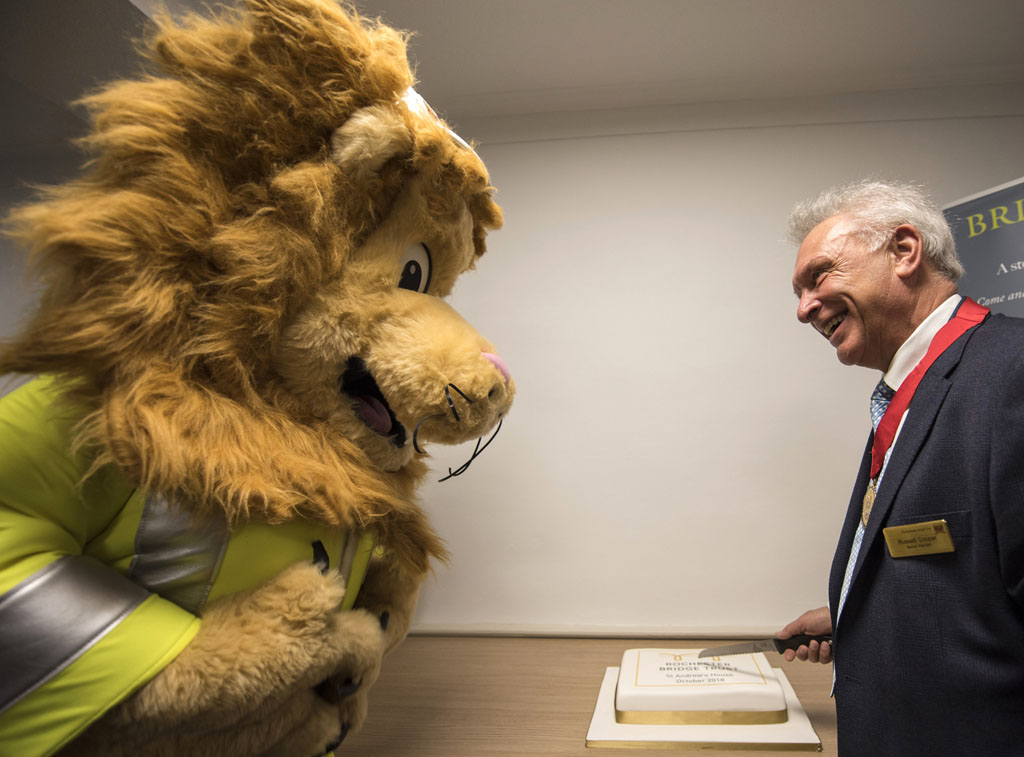 Langdon the Lion and Senior Warden Russell Cooper