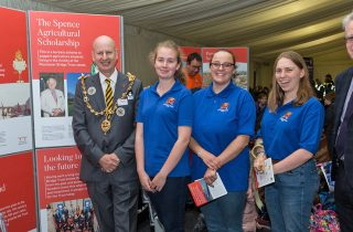From left: Maidstone Mayor David Naghi visits the Rochester Bridge Trust stand, where he meets three Spence Agricultural Scholars and Andrew Freeman, the Trust's Operations Manager. The scholars are: Georgina Francesconi (from Kent), Hannah Piggott and Rachel Banks.