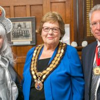 Spirit of the Bridge with Mayor of Tonbridge Jill Anderson, Senior Warden Russell Cooper-min